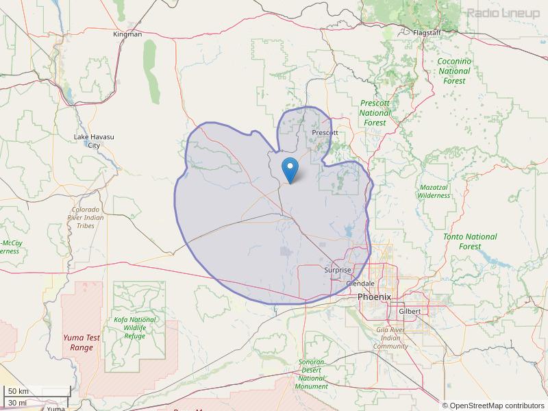 KHOV-FM Coverage Map