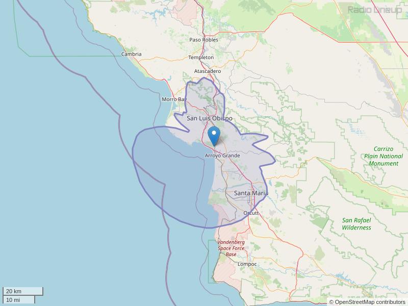 KXTZ-FM Coverage Map
