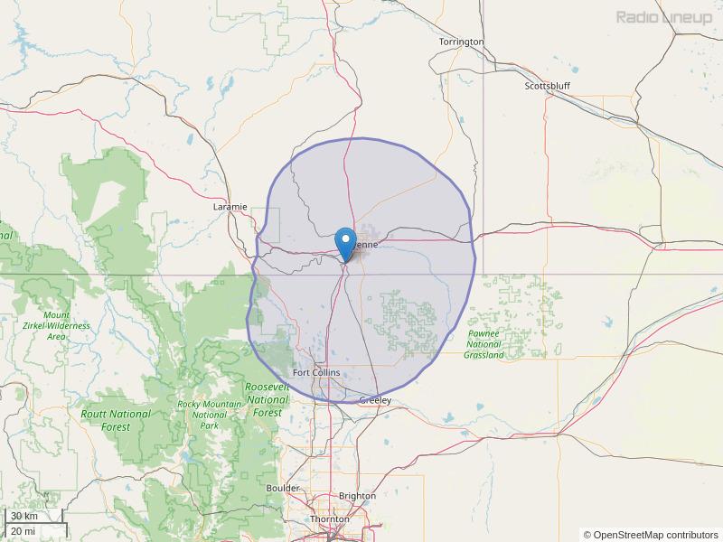 KOLT-FM Coverage Map