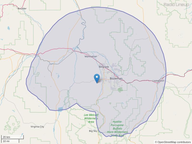KXLB-FM Coverage Map