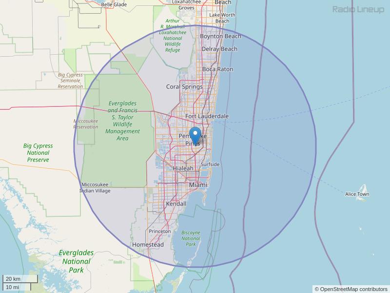 WLYF-FM Coverage Map