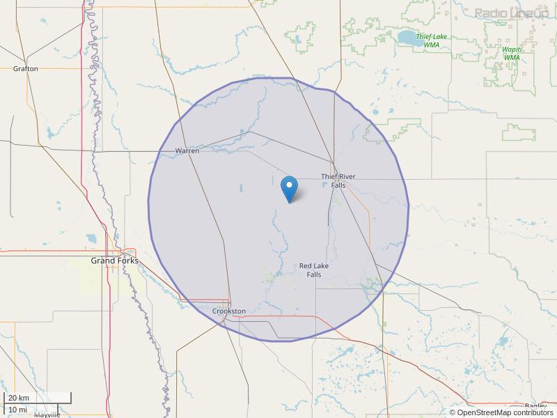 KKDQ-FM Coverage Map