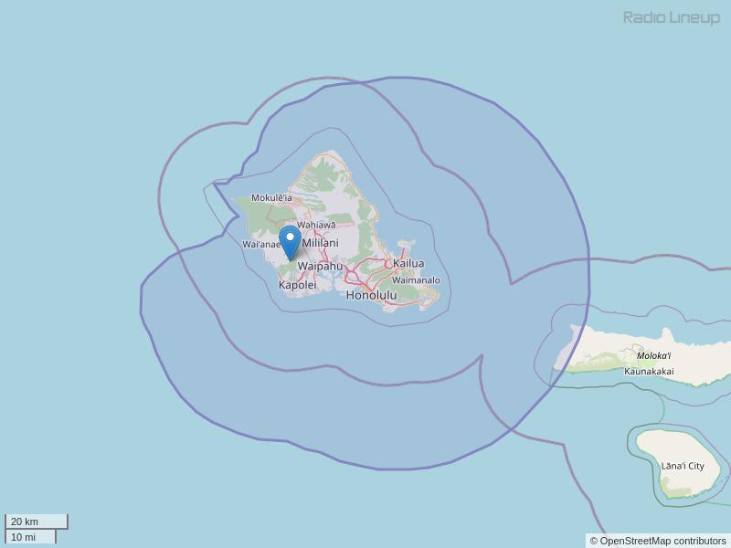 KPOI-FM Coverage Map
