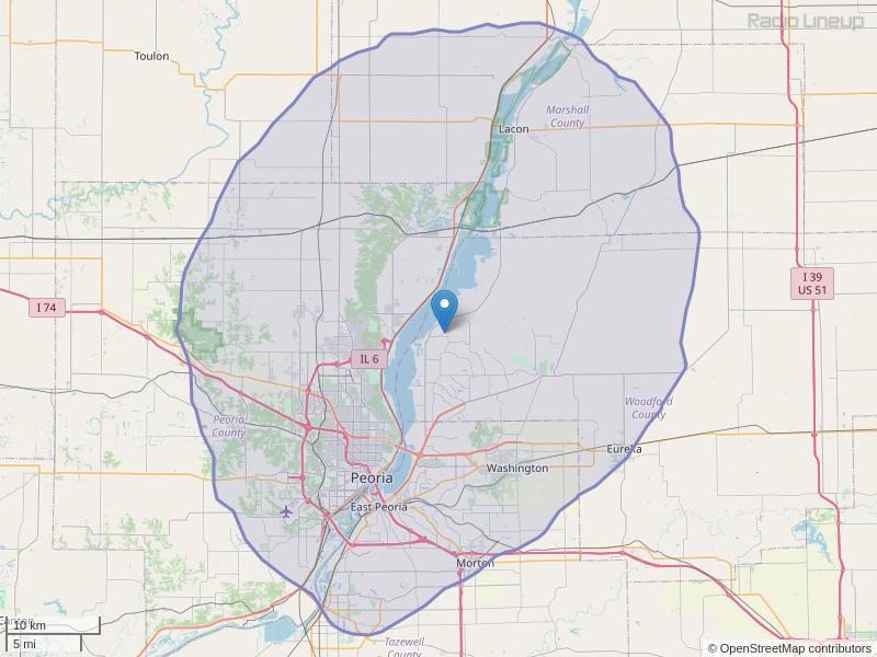 WPMJ-FM Coverage Map