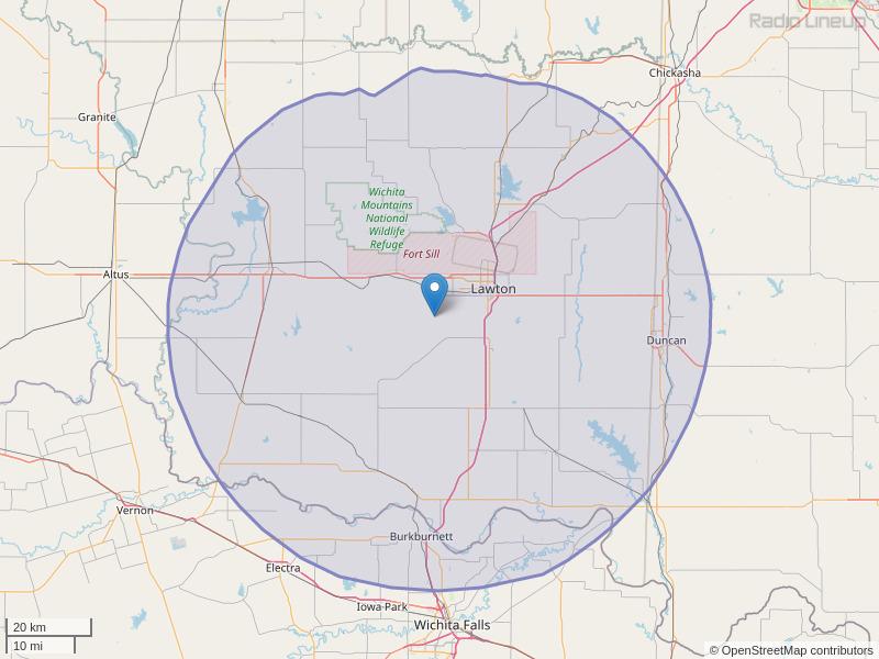 KLAW-FM Coverage Map