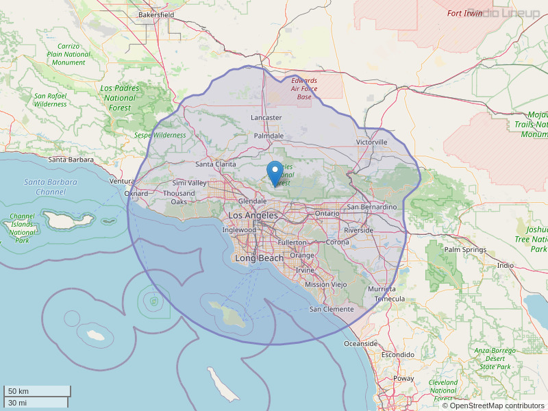KLVE-FM Coverage Map