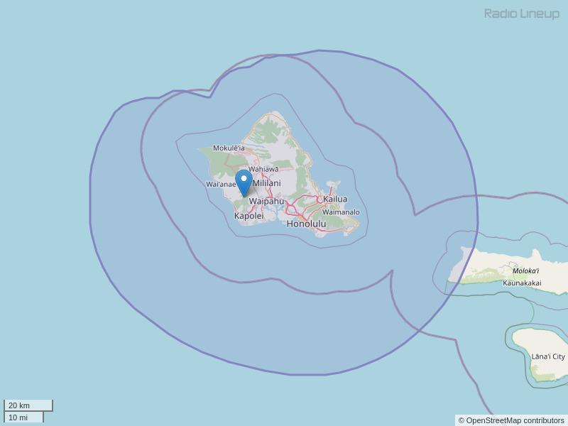 KORL-FM Coverage Map