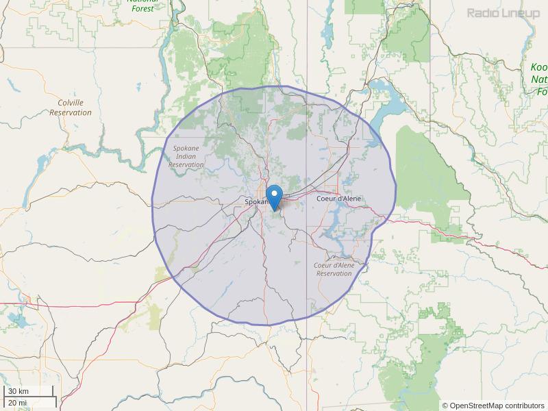 KBBD-FM Coverage Map