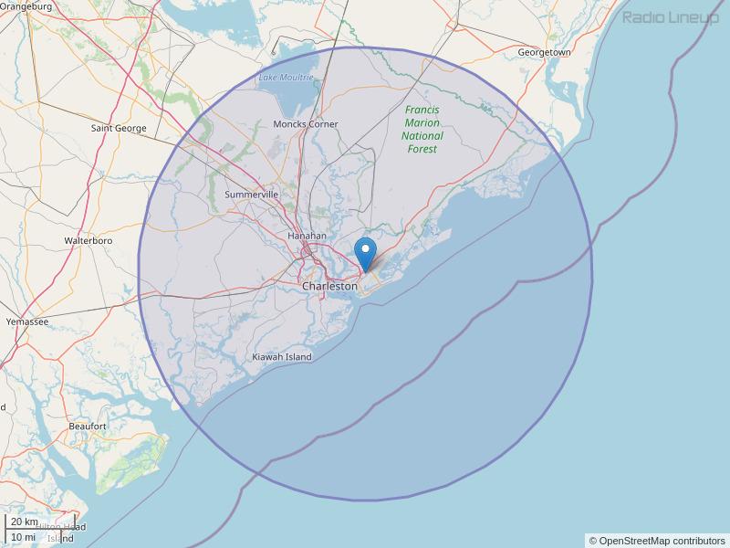 WRFQ-FM Coverage Map