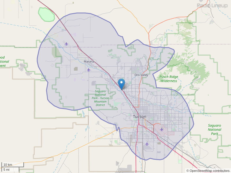 KSZR-FM Coverage Map