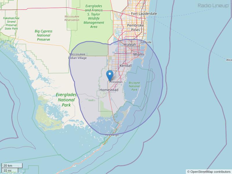 WDNA-FM Coverage Map