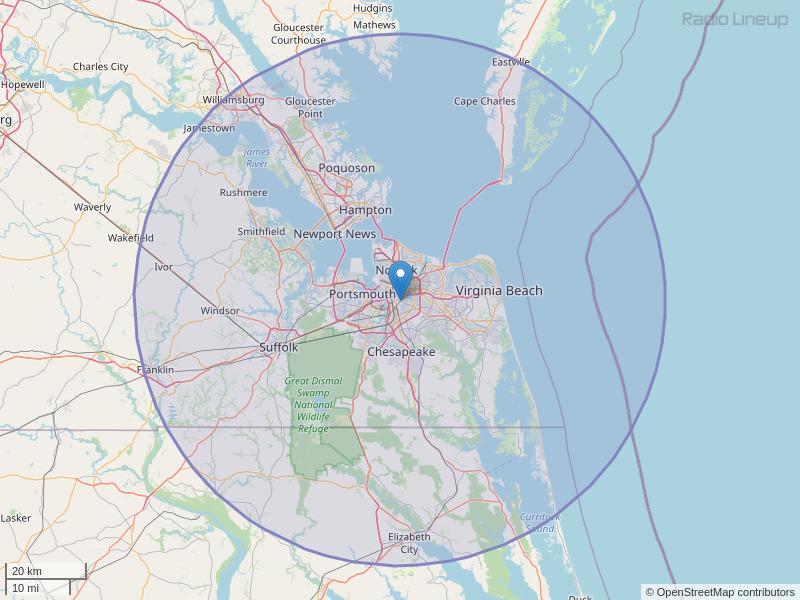 WWDE-FM Coverage Map