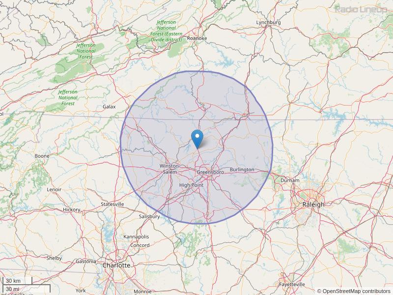 WJMH-FM Coverage Map