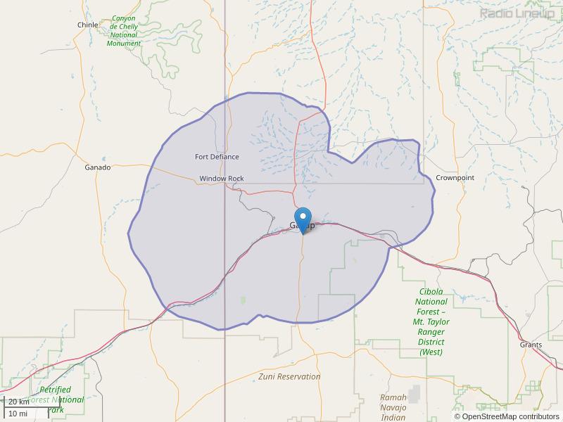 KFMQ-FM Coverage Map