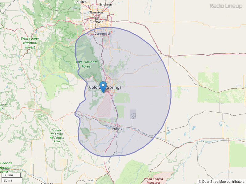 KCCY-FM Coverage Map