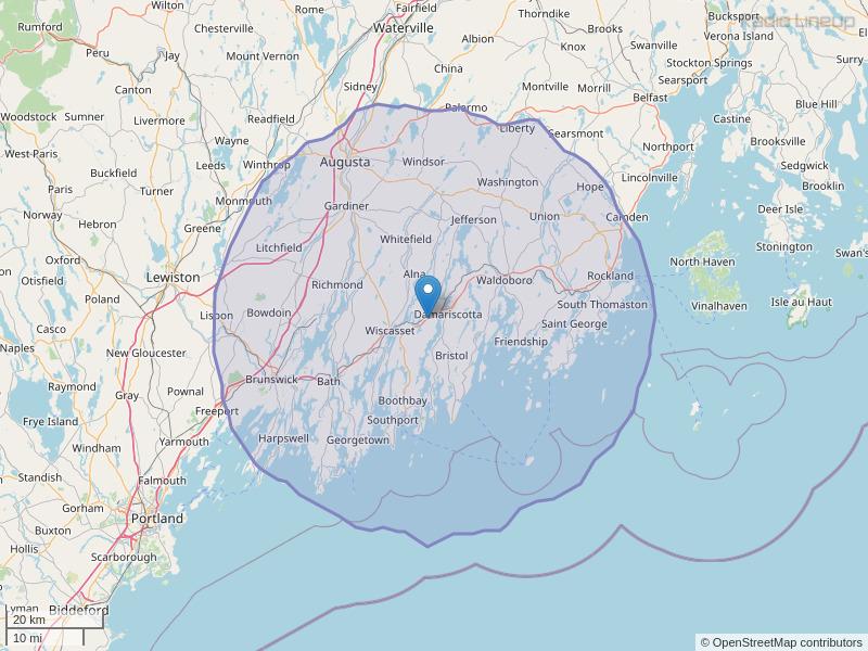 WBQA-FM Coverage Map