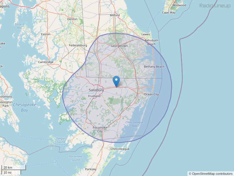 WGBG-FM Coverage Map