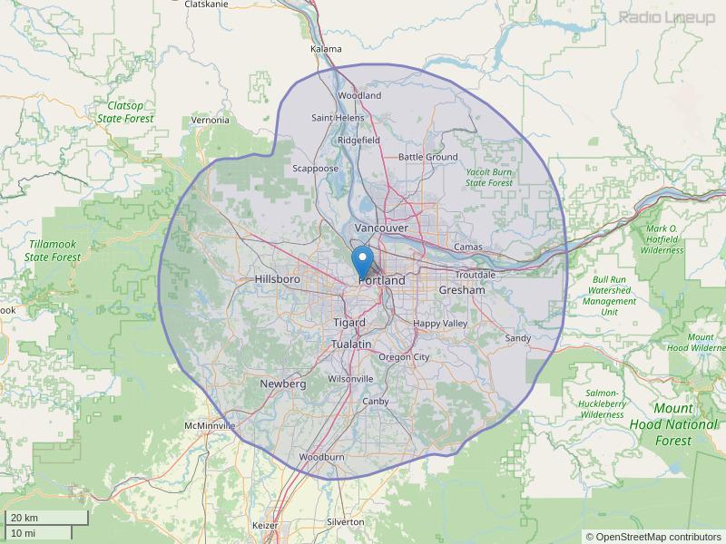 KBVM-FM Coverage Map