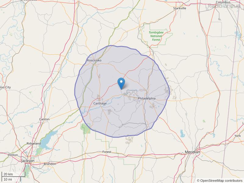 WKOZ-FM Coverage Map