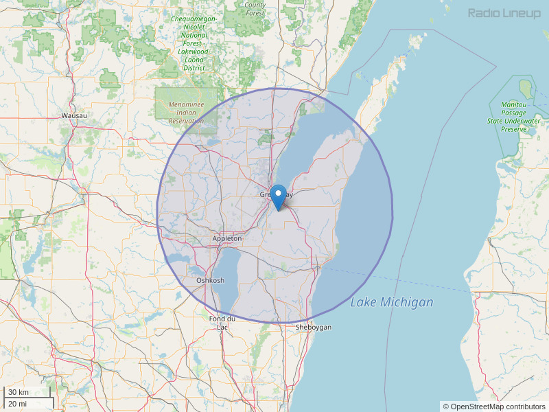 WIXX-FM Coverage Map