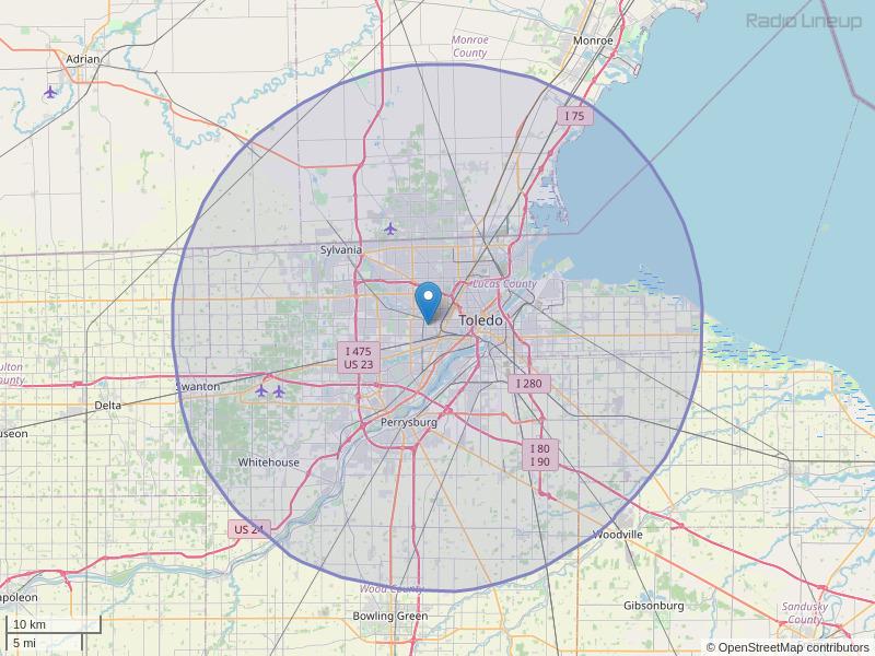 WQQO-FM Coverage Map