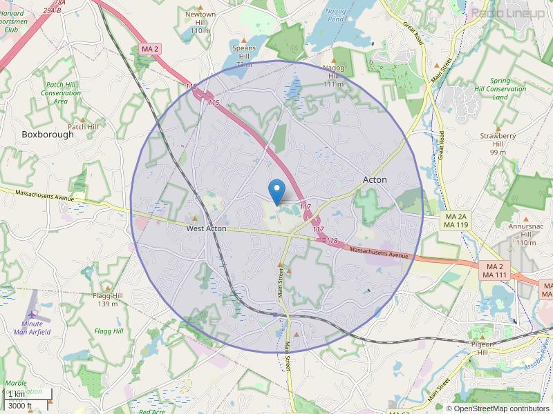 WHAB-FM Coverage Map