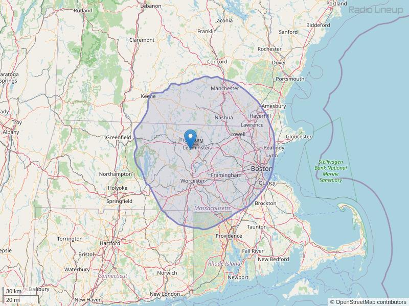 WXLO-FM Coverage Map