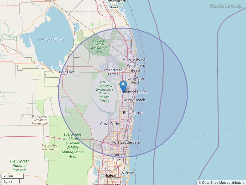 WRMB-FM Coverage Map