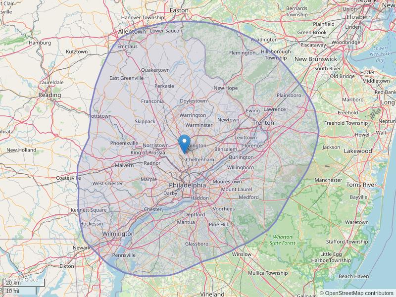 WPEN-FM Coverage Map