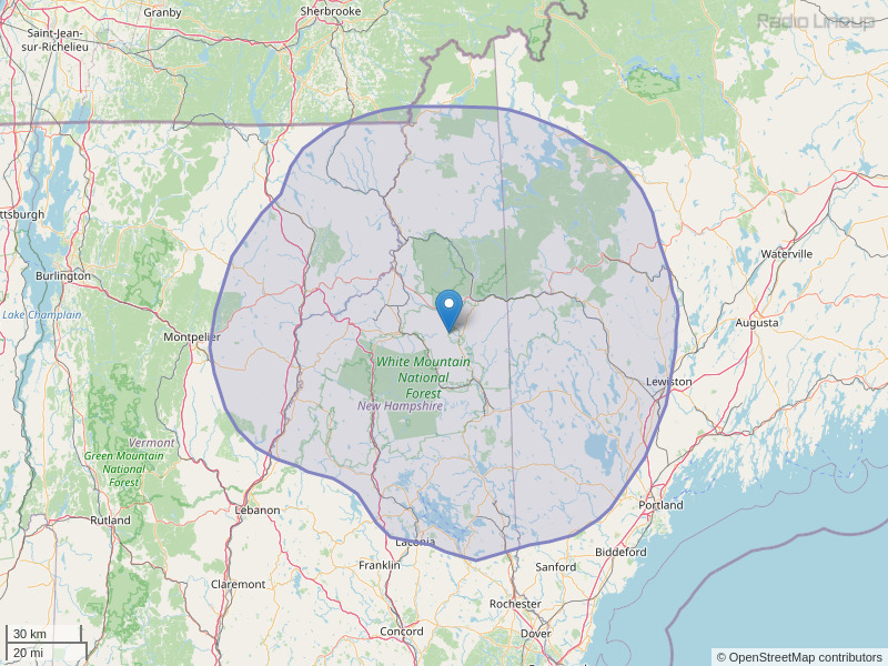 WPKQ-FM Coverage Map