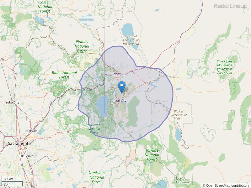 KTHX-FM Coverage Map