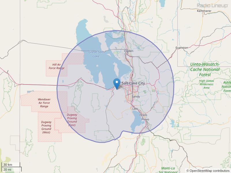 KODJ-FM Coverage Map