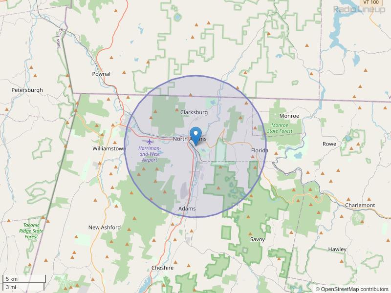 WJJW-FM Coverage Map