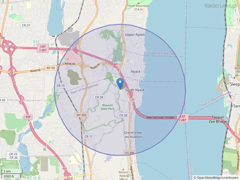 WNYK-FM Coverage Map