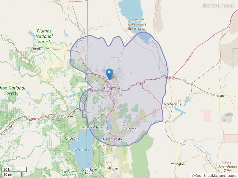 KRNV-FM Coverage Map