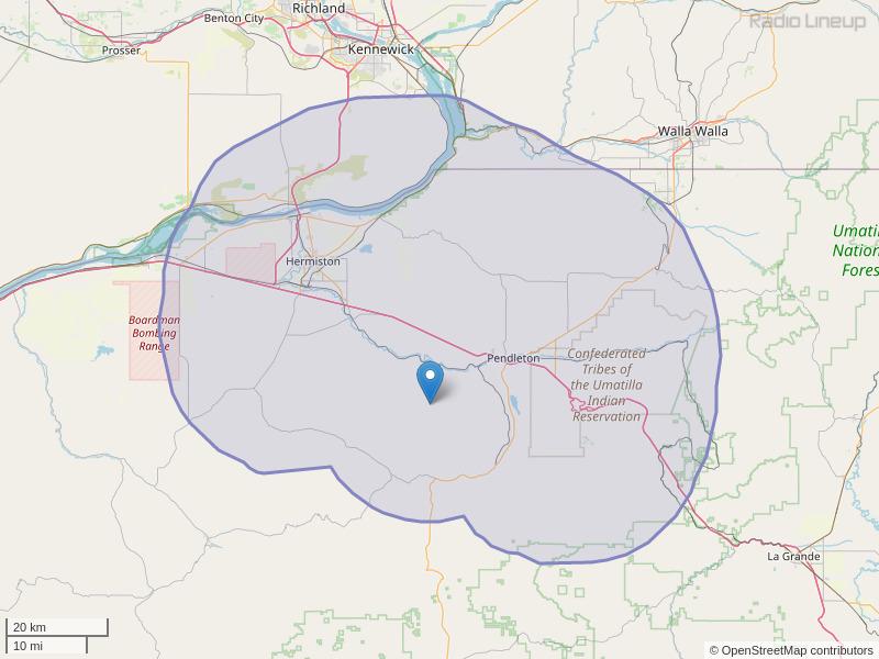 KRBM-FM Coverage Map