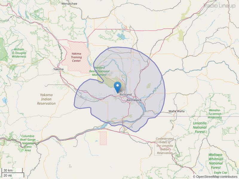 KOLW-FM Coverage Map