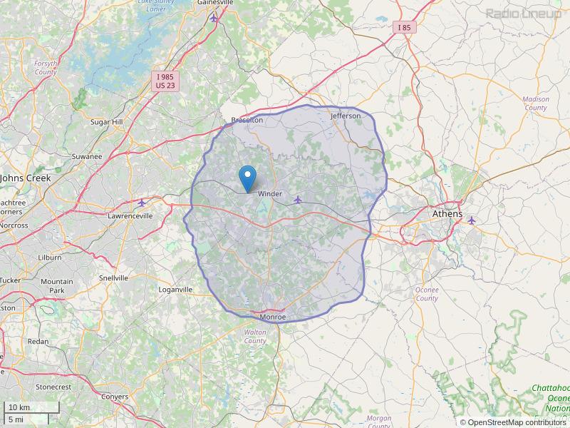 WYFW-FM Coverage Map
