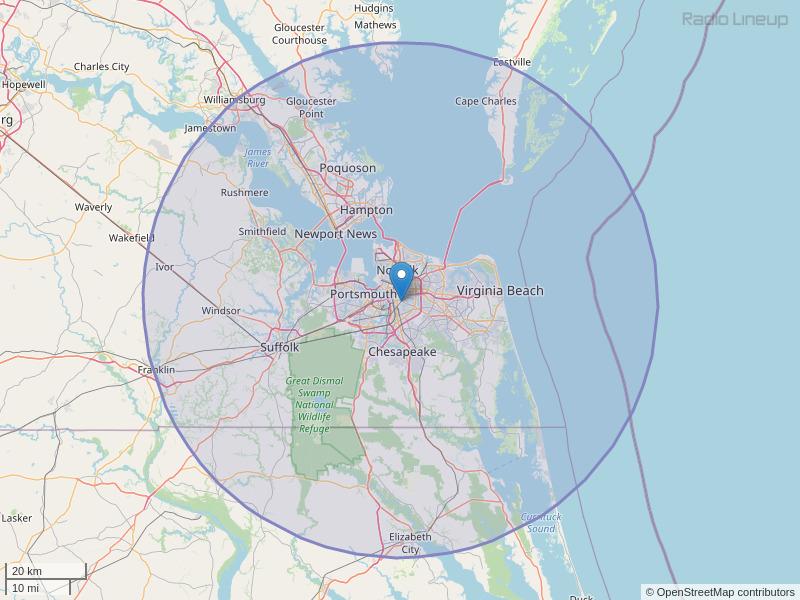WYFI-FM Coverage Map