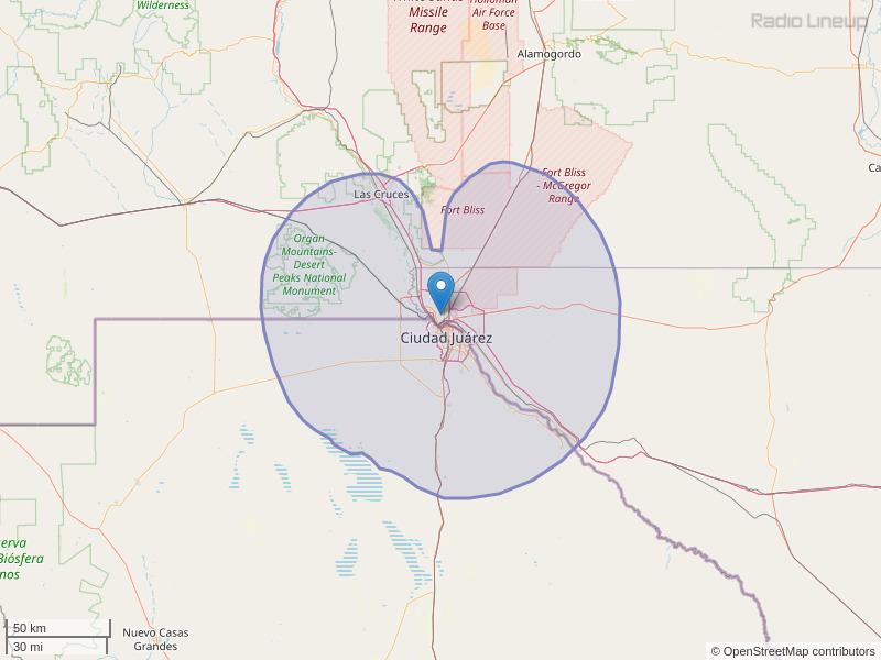 KINT-FM Coverage Map