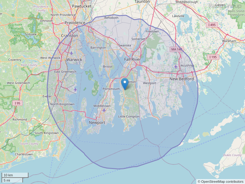 WKKB-FM Coverage Map