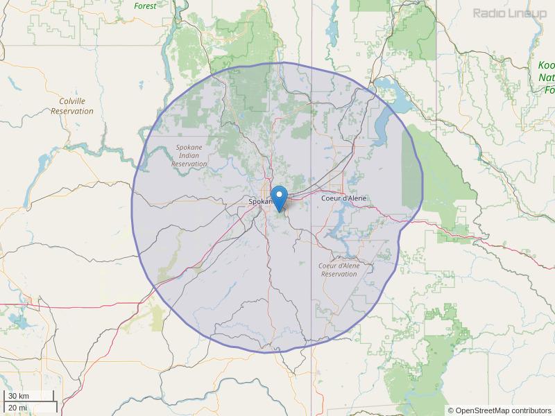 KEYF-FM Coverage Map