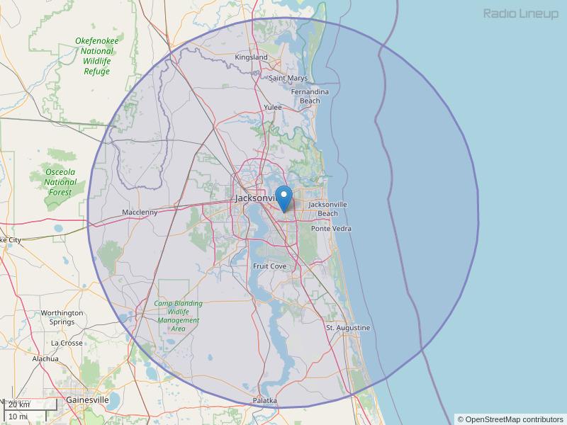 WJGL-FM Coverage Map