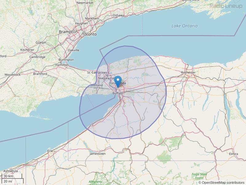 WBUF-FM Coverage Map