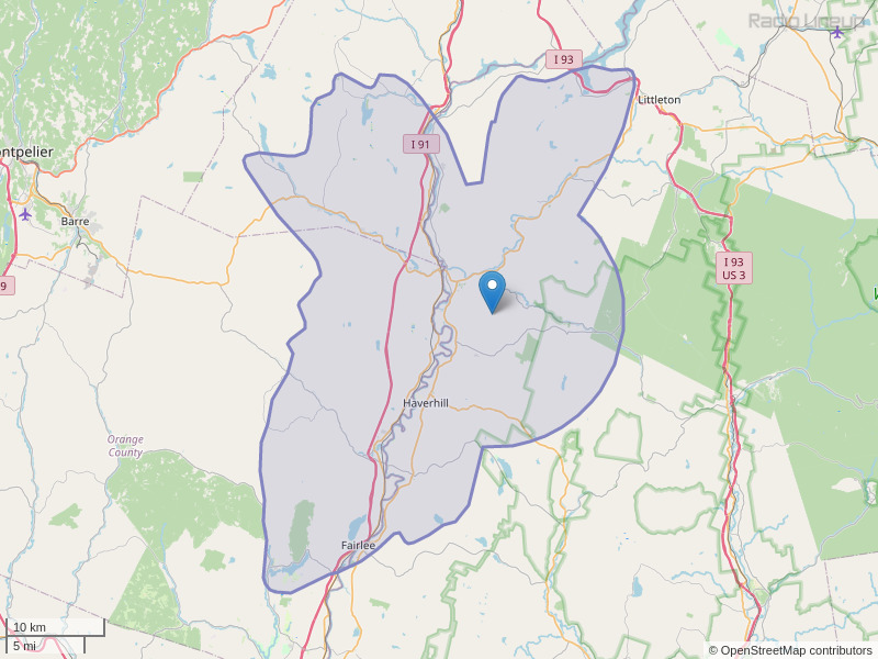 WYKR-FM Coverage Map