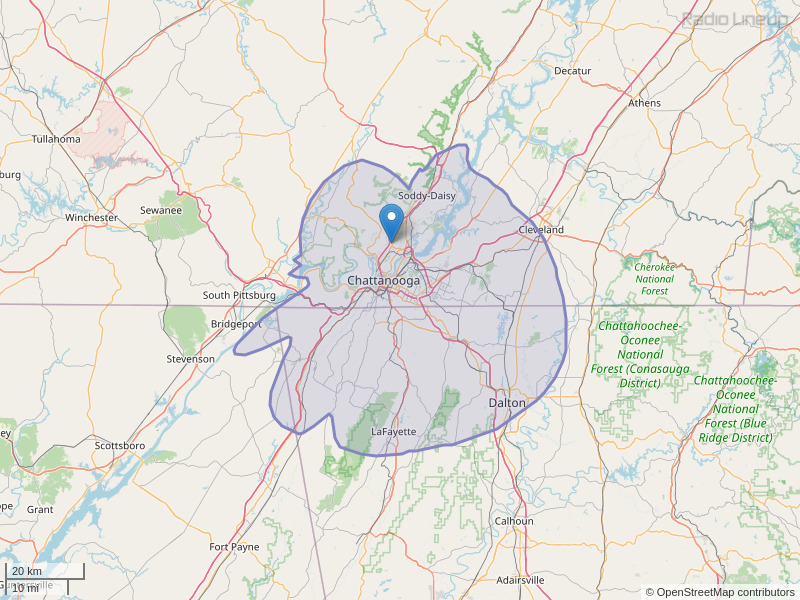 WOGT-FM Coverage Map