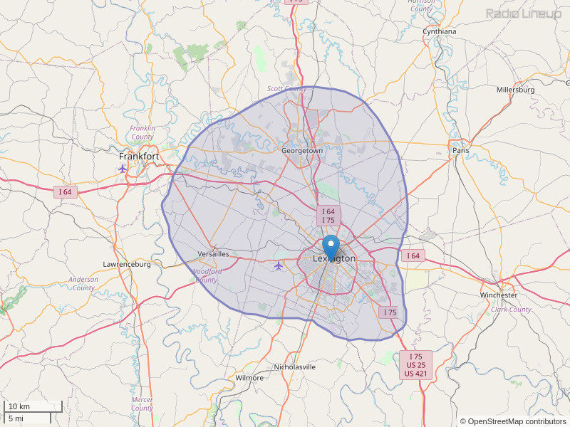 WRFL-FM Coverage Map