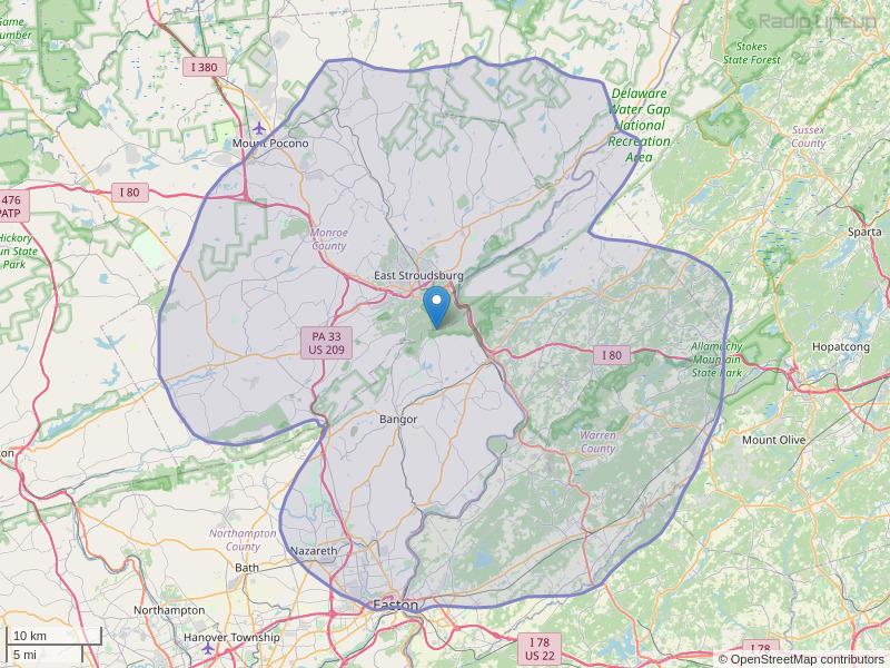 WWYY-FM Coverage Map