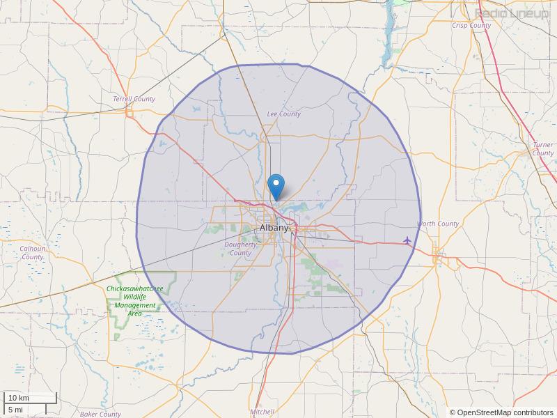 WQVE-FM Coverage Map