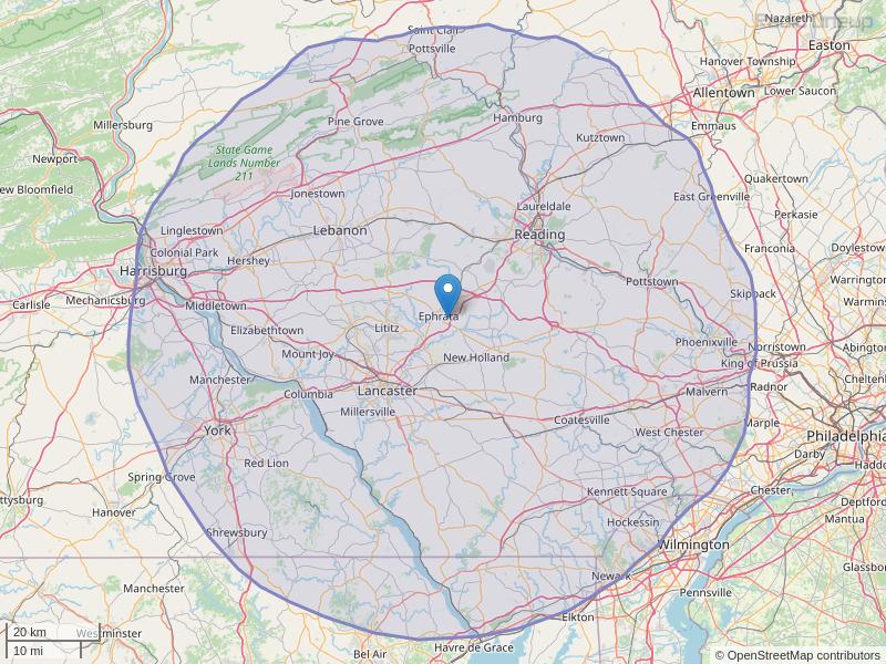 WIOV-FM Coverage Map